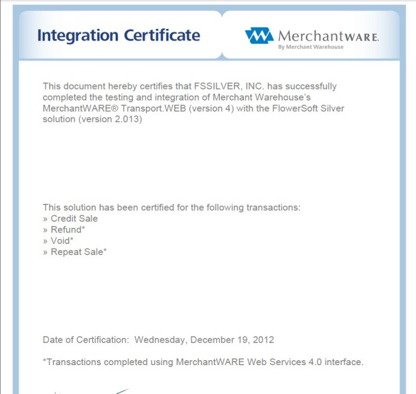 integration certificate