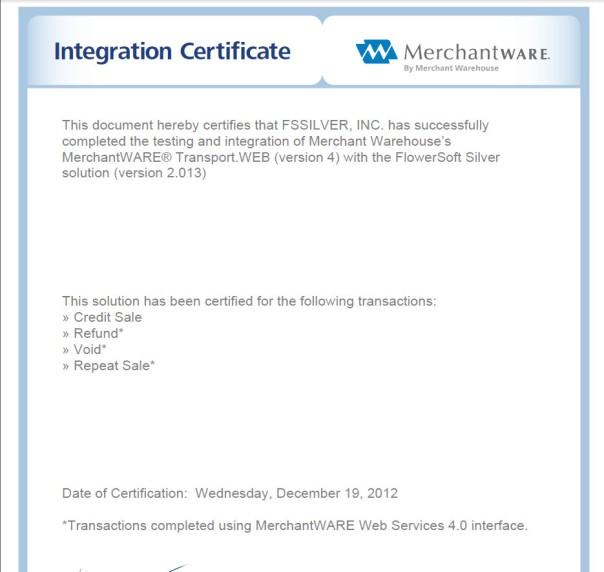 integration certificate