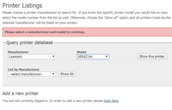 Compatible Printers 1